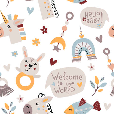 Bohemian seamless pattern with cute baby elements. 向量圖像