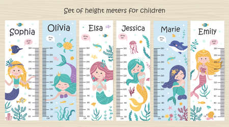 Set of Kids height chart with mermaids 向量圖像