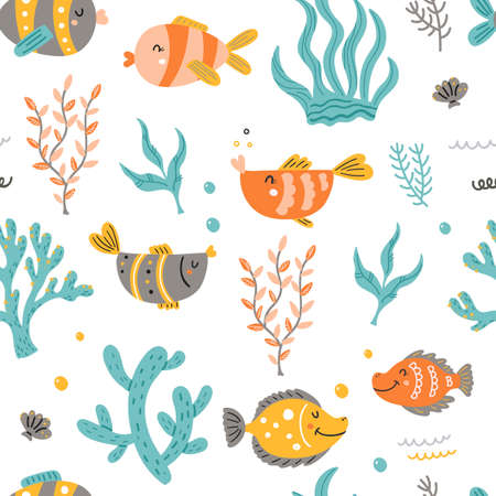 Seamless pattern with sea fish and algae.