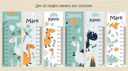 Set of Kids height chart with dinosaurs
