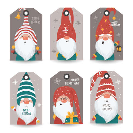 Collection of tags with Gnomes and holiday wishes