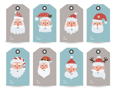 Collection of tags with Santa, Gnomes and holiday wishes