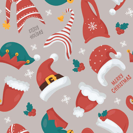 Christmas seamless pattern with Santas and Gnomes hats 向量圖像