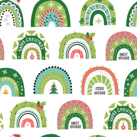 Christmas seamless pattern with Festive Rainbows