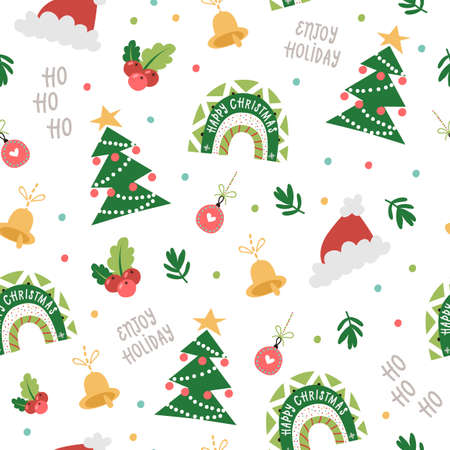Christmas seamless pattern with Festive Rainbows, Trees, Hats. 向量圖像