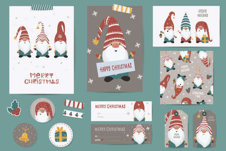 Christmas set with Christmas cards, stickers, labels, stamps, tags with winter christmas illustrations, wishes template