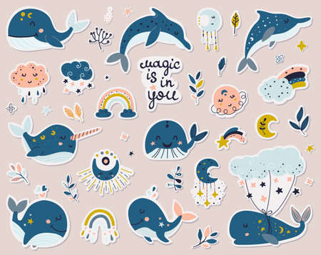 Celestial whales, dolphins and narwhal stickers collection.