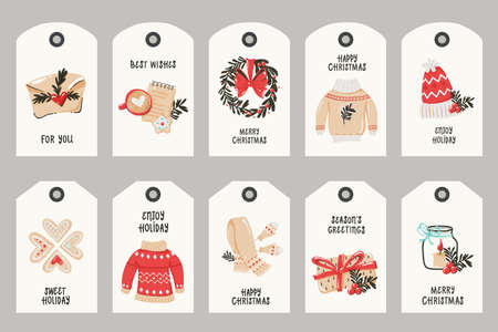 Collection of tags with Christmas items. 向量圖像