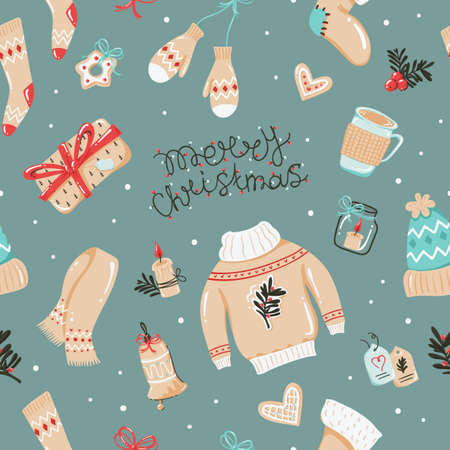 Christmas seamless pattern with hats, mittens and other things. 向量圖像