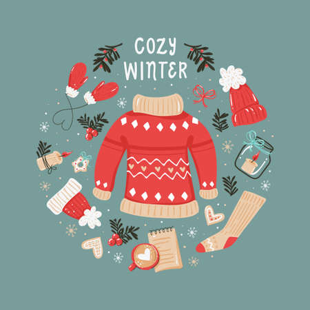 Christmas round background with cozy winter clothes and items