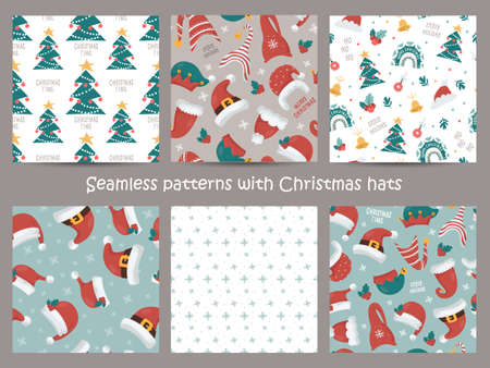 Set of Christmas seamless pattern with Santas and Gnomes hats.