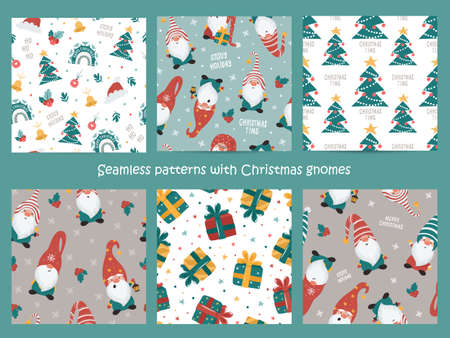 Set of Christmas seamless pattern with Gnomes.