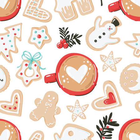 Christmas seamless pattern with with cups of coffee and cookies