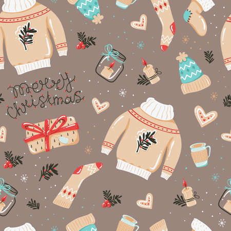 Christmas seamless pattern with hats, pullovers and other things. 向量圖像