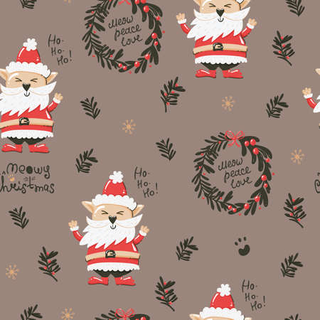 Christmas seamless pattern with funny cats, Christmas wreaths, leaves and twigs