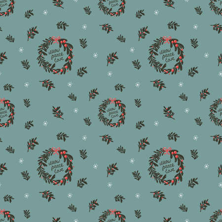 Christmas seamless pattern with Christmas wreaths, leaves and twigs.