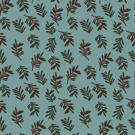 Christmas seamless pattern with leaves and twigs. 向量圖像