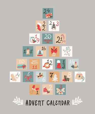 Christmas tree-shaped holiday advent calendar 向量圖像