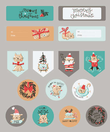 Christmas set with Christmas notes, stickers, labels, stamps, tags with winter christmas illustrations.