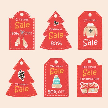 Christmas sale tag collection 向量圖像