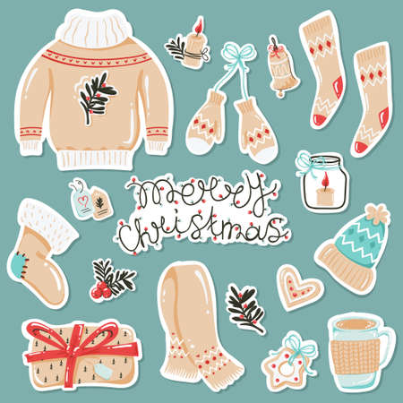 Set of stickers with cozy autumn or winter clothes and items.
