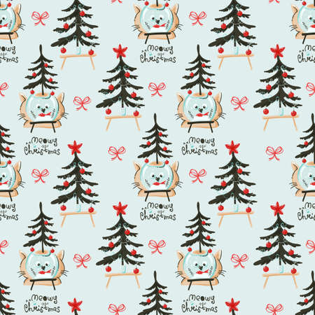 Christmas seamless pattern with funny cats and trees 向量圖像
