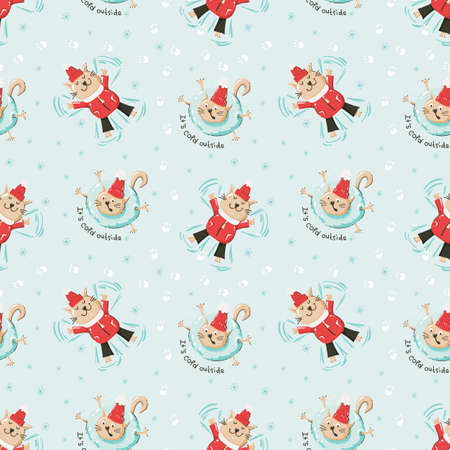 Christmas seamless pattern with funny cats 向量圖像