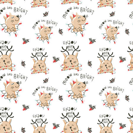 Christmas seamless pattern with funny cats and garlands