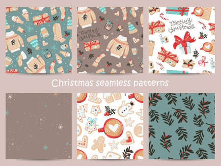 Set of Christmas seamless pattern with cozy items