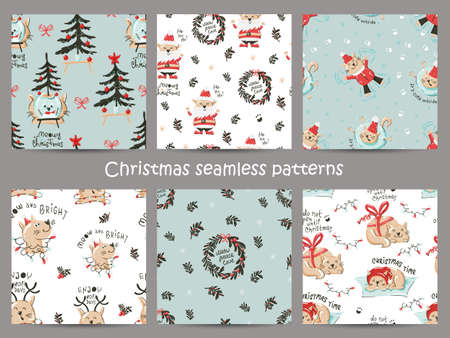 Set of Christmas seamless pattern with funny cats.