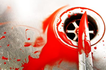 Illustrative styled image of a bloody knife over a plug hole in a stainles steel sink. Evocative of a murder scene, washing away the evidence.