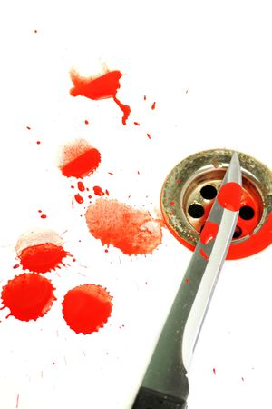 A Sharp blood covered knife set on a white background with blood splatters around, over a plug hole in a bath.