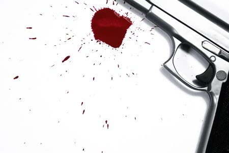 scene of a crime: Gun and blood splatter. Murder Scene
