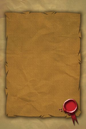 A Red Wax Seal located bottom right on a grunge styled parchment styled paper background.