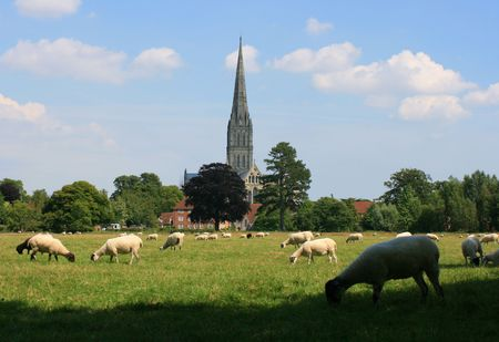 wiltshire:  A view of Salisbury Cathedral in Wiltshire