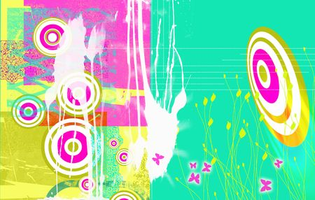 Bright Landscape format grunge styled background image, with dayglow pink and green circles, splashes,butterflies etc. Ideal web base background with space for copy etc. photo