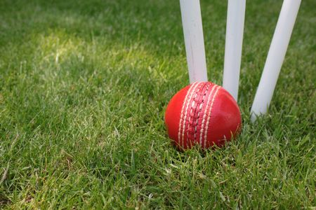 A red leather cricket ball lying in green grass at the base of three white wooden cricket stumps. Set on a landscape format.