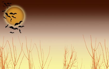 time fly: Landscape format illustrative image of a halloween type scene. Bats fly over a night time moon landscape. Room for copy etc.