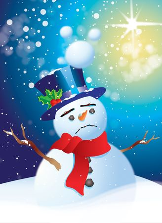 A single sad looking snowman with a blue top hat, red scarf and holly set in a bank of drifting snow. room for copy at base of image.
