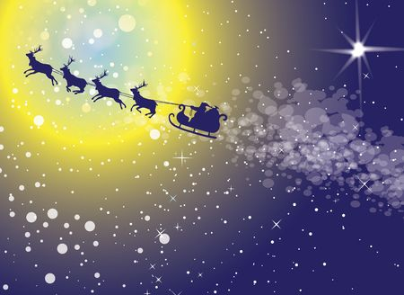 Santa and his reindeer in silhouettefying across a snow and star srewn sky towards and across a yellow glowing moon.