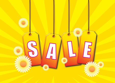 A set of swing tags spelling out the words SALE on an summer theme.