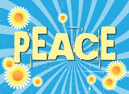 A grunge style image on a landscape format spelling the word peace.  photo