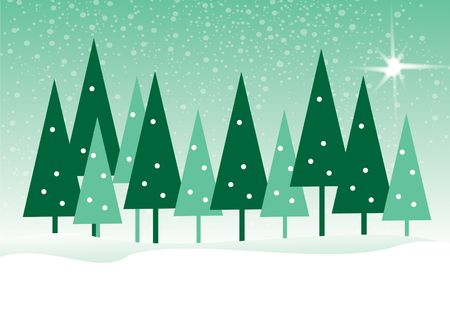 An illustration of abstract green christmas trees, set on a matching background set in a drift of snow. Room for copy or message below.