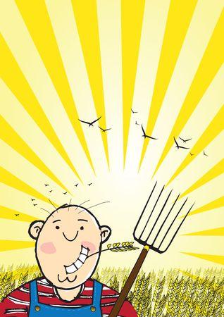 Una caricatura ingenuo de formato de retrato de estilo ilustración de un muchacho de agricultor rural mascar una cabeza de trigo establecer contra un campo de trigo al atardecer. Personaje masculino que se basa. Habitación para copiar texto.  Foto de archivo
