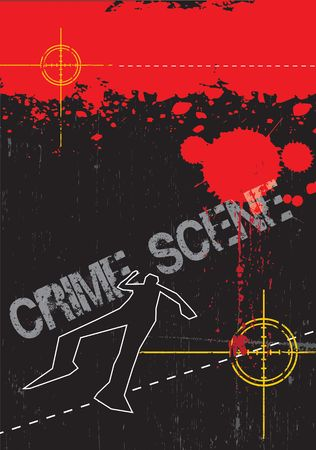 chalk line: A grunge styled illustration on a crime based theme. Blood,gun targets and body outlines.