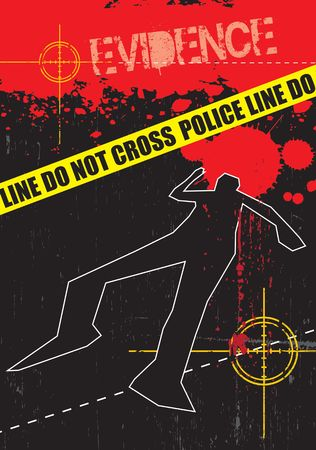 csi: A grunge styled illustration on a crime based theme. Blood,gun targets and body outlines.