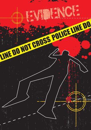 sprawled: Un grunge de estilo ilustraci�n sobre un tema de la delincuencia que se basa. Describe la sangre, objetivos de ca��n y el cuerpo.
