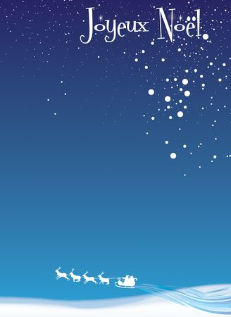 A Christmas themed A4 sized banner with Joyeux Noel at the top with santa and reindeer  at the base, set on a blue base background. Plenty of space to insert own copy. ideal for restaurant menu's or bulletins. Stock Photo - 6030673