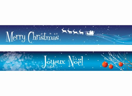 Two Christmas banners on a blue background theme. One with the message Merry Christmas, the other with Joueux Noel.