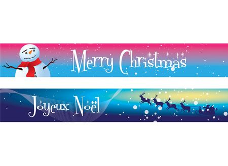 Two Christmas banners on a blue, and blue and pink background theme. One with the message Merry Christmas, the other with Joueux Noel. Stock Photo